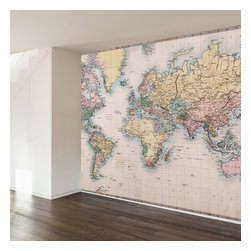 WallsNeedLove - Vintage Map Wall Mural Decal - Use this map mural to follow your heart and love for travel. Let yourself get lost along the way. That's where adventure truly lies.