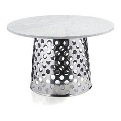 """Como 48"""" Round Marble Top Dining Table - Paola Navone's unique and unexpected furnishings are simple, elegant and immediately familiar, with a livable look that blends with any style. Bold perforated circles pattern aluminum base topped with gorgeous Italian Carrara marble in an eclectic mix of handworked metal and natural stone. Crafted for us exclusively in Mumbai, each round base is crafted of a single sheet of aluminum that is die-cut, welded and polished to a gleaming mirror finish. Solid 8mm marble top displays the unique markings and color variations of pure, unfinished marble and is built around an aluminum honeycomb interior to provide lightweight support and minimize the chances of breakage. A clean, modern pedestal table, generously proportioned for gathering friends and family."""