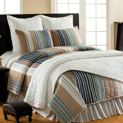 Cottage Home - William Striped 3-piece Quilt Set - This quilt set is a delight with decorative stitching and stipes in khaki,green,blue,navy blue,white and thin red stripes. This quilt is designed for all ages,is unisex and fits well in any room.