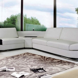 KN8464 Contemporary White Eco-Leather Sectional Sofa w/ Audio Center - Contemporary Sectional Sofa