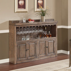 AHB - AHB Martino Back Bar - Glacier Multicolor - 620043GLA - Shop for Bars and Bar Sets from Hayneedle.com! The perfect entertaining accessory the AHB Martino Back Bar - Glacier gives you plenty of space for all your spirits and accessories. Its four doors open two storage compartments while the top shelf holds a stemware rack.American Heritage BilliardsBefore founding American Heritage Billiards back in 1987 the owners were building pool tables in high school learning the industry from the ground up. Today their 170 000 sq.-ft.-facility centrally located in Cleveland Ohio is the largest billiards manufacturer in the world the leader in design selection service and value. Each item of entertainment furniture is meticulously designed and engineered to withstand the test of time utilizing old-fashioned wood joinery methods. The vast majority of our metal products have welded joints to provide a lifetime of carefree service.