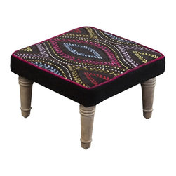 "Surya - Embroidered Velvet Foot Stool by Surya - Enliven your sitting area with just one small addition. A playful pattern of colorful embroidery is contrasted by a black velvet background. The upper border is defined with magenta piping. Four curvy legs give rise to this compact, yet functional foot stool. (SY) 15.2"" square x 8"" high wood base"