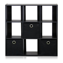 Furinno - Furinno 13207 Simplistic 9-Cube Organizer, Espresso/Black - This Simplistic series of cube organizer is designed to fit in your space, your style and fit on your budget. Each cube size of this 9-cube storage is smaller than those that you found on the market. Instead of a bookcase, this unit is rather be called a organizer of your clusters and a display for your collection. If you are a fan of collector figure or any collector toys, this unit provides a home for them and yet be reached at your convenience. Each shelf hold up to 10 lbs. Easy assembly with the reference to instruction. The CARB compliant composite wood is manufactured in Malaysia and comply with the green rules of production. There is no foul smell and is durable. The complimentary non-woven bin simply add in a sweet accent to unit.