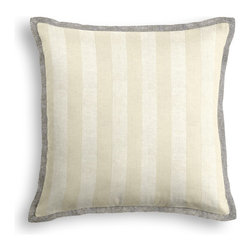 Metallic Silver Striped Ivory Linen Tailored Pillow - The Tailored Throw Pillow is an updated, contemporary pillow style with the center fabric framed by a thin contrast flange.  Voila! -it's artwork for your couch!  We love it in this classic awning stripe with a modern metallic twist: silver foil printed on ivory linen.