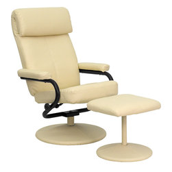 Flash Furniture - Flash Furniture Contemporary Cream Leather Recliner & Ottoman w/ Leather Wrapped - Recline in your favorite position with this comfortable recliner and ottoman set. This set features a built-in pillowtop headrest, thickly padded arms and leather wrapped bases. This set is not only perfect in the home, but makes for a great addition in the office when you need to relax for a bit. The durable leather upholstery allows for easy cleaning and regular care. [BT-7863-CREAM-GG]