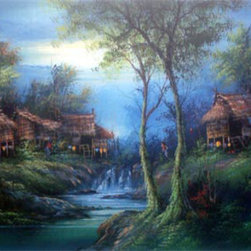Oriental-Décor - River Village - Set along the heart of a stream in the heartland of Asia, this painting of a rural village captures the tranquillity and essence often found in the Orient. The shades of green and blue are perfectly used to create a quiet mood, reminiscent of the peace that can be found in Asia. Place this gorgeous painting in any room for fine decorative effect.