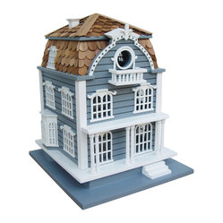 Home Bazaar - Sag Harbor Birdhouse - Blue with Mansard Roof - Your neighborhood birds will have their own vacation home in your yard with this historic Sag Harbor–inspired birdhouse. Birds can rest on the front porch or stroll the roof walk, just as the captain's wife would have 100 years ago. This little home will be loved by humans and birds alike!