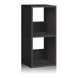 Way Basics - Way Basics Eco 2 Shelf Duo Narrow Bookcase, Black - Let your imagination run wild with this simplistic, modern, Duo Narrow Shelf that will complement and organize any space in your home! A unique tool free assembly & endless possibilities make it an essential piece for the home.