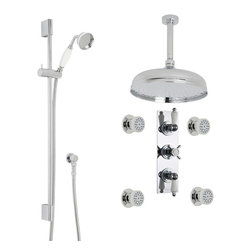 """Hudson Reed - Traditional Chrome Shower System Set With 12"""" Rain Head Ceramic Handset & 4 Jets - Add traditional style to your bathroom with the Beaumont shower kit from Hudson Reed, which comes complete with the slide rail kit, four body jets, 12"""" apron shower head and arm, as well as the thermostatic triple shower valve."""