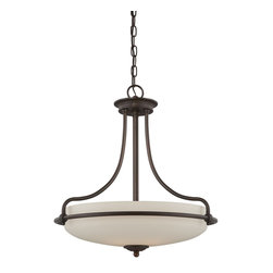 Quoizel - Quoizel GF2821PN Griffin Transitional Inverted Pendant Light - This understated style provides a stylish, soft modern look for most any room.  The etched shade is painted white inside, diffusing the light evenly and illuminating your home with a soothing glow.  It is held in place by softly curved arms and is available in three finishes: Antique Nickel, Polished Chrome and Palladian Bronze