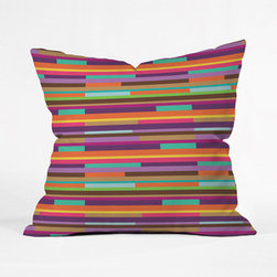 Fruit Stripe Pillow Cover - This colorful throw pillow cover adds a splash of color to your couch or chair without going too crazy. We suggest mixing and matching this pillow with other colorful prints in a similar palette.