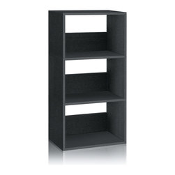 Way Basics - Way Basics 3 Shelf Triplet Bookcase, Black - This sleek and modern bookcase will hold all your stuff in style — and is easy on the environment to boot. It's sustainably made from recycled paper and uses paper dowels to hold the pieces together. But fear not, it's water resistant and super easy to put together. The back of each shelf has a cut-out on top and solid section beneath for added graphic appeal. Stash your books, clothes, games, video gear and more in this beautiful bookcase.