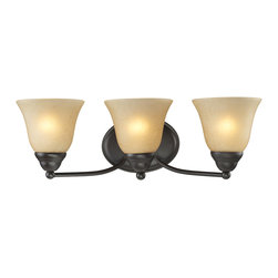 Z-Lite - Z-Lite 3 Light Vanity Light - A classic bronze finish joined with warm amber-tea stained shades make this three light vanity fixture a tasteful addition to any home.
