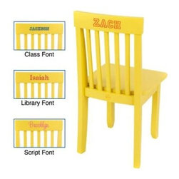 "KidKraft Personalized Avalon Yellow Chair - Ergonomic and sturdily crafted the KidKraft Personalized Avalon Yellow Chair will seat your little ones for generations to come. Finished in sunny yellow to brighten any bedroom decor it is built for comfort and classic style and will fit most child-sized tables. Durably crafted in long-lasting Rubberwood and composite wood this child-sized chair will last for hours of play and repetitive rugged use. Dimensions: 13.75L x 13.13W x 26.75H inches. The Beauty and Benefits of RubberwoodHailing from the maple family of trees the rubber tree is used in the manufacture of high-end furniture. This durable Asian hardwood is valued for its dense grain minimal shrinkage attractive color and acceptance of different finishes. It is also prized as an """"environmentally friendly"""" wood as it makes use of trees that have been cut down at the end of their latex-producing cycle. About KidKraftKidKraft is a leading creator manufacturer and distributor of children's furniture toy gift and room accessory items. KidKraft's headquarters in Dallas Texas serves as the nerve center for the company's design operations and distribution networks. With the company mission emphasizing quality design dependability and competitive pricing KidKraft has consistently experienced double-digit growth. It's a name parents can trust for high-quality safe innovative children's toys and furniture."