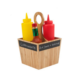 Great Useful Stuff - Condiment Carrier with Chalkboard Labels - You'll use this clever bamboo condiment carrier over and over again. Plus, you'll save yourself multiple trips to the kitchen! Make it as casual or elegant as you want by choosing your bottles and labeling the sides. Perfect for your salad fixings!