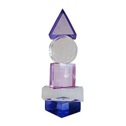 """Used Geometric Lucite Sculpture Signed """"Van Teal"""" - This geometric lucite sculpture signed """"Van Teal"""" on base is in very good condition, with only some minor wear and tear. A gem of crystal-like blues, pinks, and purples."""