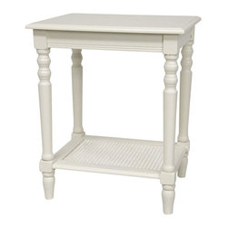 """Oriental Furniture - 23"""" Classic Design Side Table - White - Classic rectangular side table with beveled top and sturdy, lathed legs. Woven cane lower shelf offers contrasting pattern and extra storage space, a fresh take on a traditional style table."""