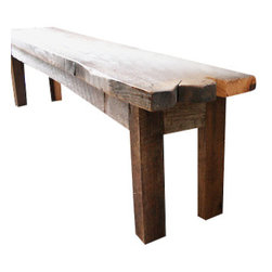 what We make - reclaimed wood bench - Handmade in Chicago from local reclaimed oak boards, this bench works with your decor, whether it's classic or modern. Place it in your hallway or at the foot of your bed; this versatile table looks great anywhere in your home.