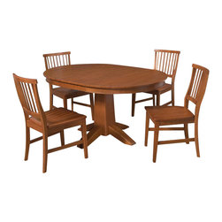 "Home Styles - Home Styles Arts and Crafts 5 Piece Dining Set in Cottage Oak - Home Styles - Dining Sets - 5180308 - Mission Styling at its best! The Arts and Crafts Five Piece Dining Set is an economical solution capable of adapting to a variety of settings. Constructed of hardwood solids and veneers in a warm multi-step Cottage Oak finish the Round Dining Table can be accessorized either formally or informally to create any desired atmosphere. The 16"" leaf expands the table top from 42"" to 58"" providing enough space for two additional chairs. The Arts and Crafts Dining Chairs are constructed of hardwood solids and can be purchased in addition to the four included in the set in two pack quantities. Five piece set includes the dining table and four dining chairs."