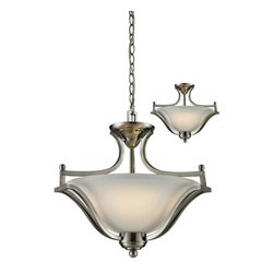 Three Light Brushed Nickel Matte Opal Glass Up Pendant - This three light semi-flush ceiling lamp with its brushed nickel finish and its matte opal shade can give a flare of elegance to your home.