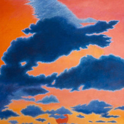 """Dawn Windhorse"" - A large oil painting (72"" X 54"") depicting a cloud formation in the shape of a mythical Tibetan creature called a ""Windhorse,"" with a red sun rising over the Caribbean Sea. The main colors are vivid rose, red, orange, yellow, blues, and gray,  (Photo credit: Patricia Waldygo)  FREE SHIPPING, which includes a wooden crate built to the painting's specifications.  Return Policy: Paintings can be returned within one week for a full refund, minus the shipping and crate charges to the buyer that the artist paid for. Return shipping charges must be paid by the buyer."