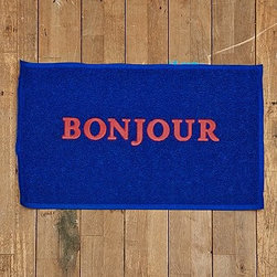 Bonjour Welcome Mat, Blue - This Bonjour welcome mat is so cute!