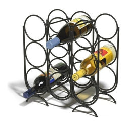 Spectrum Diversified Designs - 9 Bottle Multi-ring Wine Rack - Spectrum's Multi-Ring 9-Bottle Wine Rack combines a stylish look with space-saving convenience. The clever design keeps wine bottles at the proper angle to help prevent corks from drying. Made of sturdy steel, this wine rack will add a modern touch to your home.
