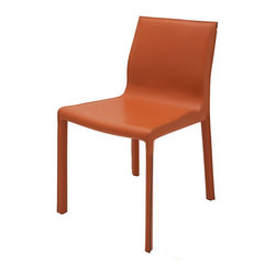 Nuevo Living - Colter Dining Chair - Ochre Leather - Nuevo HGAR265 - Comfortable, elegant and classic, this Colter Dining Chair in ochre is perfect for any decor. It is made with a durable leather upholstery that is sure to last for years to come. Perfect for intimate gatherings or wild evenings, this wonderful furniture is sure to delight and amaze. The Colter Chair is available in your choice of black, white, dark grey, ochre, and mink colored leather. Enjoy simple pleasure with this furniture piece. Order yours online now!