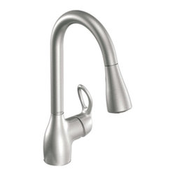"Moen - Moen 87011SRS Kleo Single Handle Pullout Kitchen Faucet in Spot Resist Stainless - Moen 87011SRS Kleo Single Handle Pullout Kitchen Faucet in Spot Resist Stainless SteelA beautifully designed Kleo high-arc, pulldown kitchen faucet will add style to any kitchen.Moen 87011SRS Kleo Single Handle Pullout Kitchen Faucet in Spot Resist Stainless Steel, Features:• High-arc spout provides more clearance to fill or clean large pots while the pulldown feature provides the infinite maneuverability for cleaning or rinsing• Loop Handle• Hydrolock quick connect installation• Aerated and rinse spray functions• Spout height: 15""• Spout reach: 7-7/8""• 1 to 3-hole application• Pause button temporarily stops the flow of water• Flexible supply lines with 3/8"" compression fitting connect directly to supply stop• Pullout spray with 68"" braided hose• Conventional deck mount design• ADA Compliant• 2.2 GPM (8.3 l/min) maxSpecification Sheet - Moen 87011SRSMoen Installation Instructions  Moen Limited Lifetime WarrantyManufacturer: MoenModel Number: Moen 87011SRSManufacturer Part Number: 87011SRSCollection: KleoFinish Code: Finish: Stainless SteelUPC: 026508209448This product is also listed under the following Manufacturer Numbers and Finish Codes:Moen-87011SRS        87011SRS        Moen 87011SRS        MO87011SRSProduct Category: Kitchen FaucetsProduct Type: Pullout Spray Kitchen Faucet"