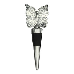 Arthur Court - Butterfly Bottle Stopper - Should you host a wine flight or tasting party, you'll need a few of these beautiful butterflies to lend an air of elegance to the affair… and to retain the fresh flavor and aroma of your favorite wines by keeping the air out of the bottles.