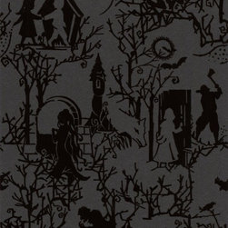 Graham and Brown - Fairy toile Wallpaper - Shadow - Treat your walls to a bedtime story with this gorgeously gothic paper. Thronged with fairytale characters and fanciful creatures, it's a contemporary — and endlessly evocative — take on once upon a time.