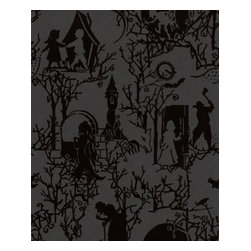 Graham and Brown - Fairy Toile Wallpaper, Shadow - Treat your walls to a bedtime story with this gorgeously gothic paper. Thronged with fairytale characters and fanciful creatures, it's a contemporary — and endlessly evocative — take on once upon a time.