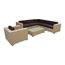 LexMod - Corona Outdoor Wicker Patio 7 Piece Sectional Sofa Set in Tan with Brown Cushion - Stages of sensitivity flow naturally with Corona's robust seating experience. Find meaning among cliffs and caverns as you become the agent of influence in the tan rattan base and all-weather brown fabric cushion repast. Open yourself to splendorous insights as you impart positivity among friends and family.