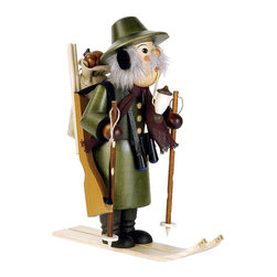 """Frontgate - Ranger on Skis Smoker - Enjoy the intricacies and master craftsmanship of Christian Ulbricht figurines, a holiday tradition since 1928. Handcarved and hand-painted, with careful attention to the tiniest features. Made from the finest wood and materials. Incense sold separately. The Ranger on Skis Smoker from Alexander Taron set evokes the calm of a quiet morning in the forest. The exquisitely detailed, 10-1/2"""" tall ranger smokes his pipe as he keeps his eye out for anything suspicious. By placing an incense cone inside his body, he puffs smoke from his mouth. . . . . Made in Germany."""