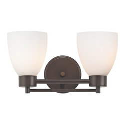 Design Classics Lighting - Neuvelle Bronze Modern Bathroom Light with White Glass - 702-220 GL1028MB - Contemporary / modern neuvelle bronze 2-light bathroom light. A socket ring may be required if installed facing down. Takes (2) 100-watt incandescent A19 bulb(s). Bulb(s) sold separately. UL listed. Damp location rated.