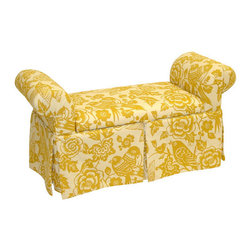 "Skyline Furniture - Skirted Storage Bench - This skirted storage bench is an elegant addition at the foot of a bed or in a living room. A storage piece has never looked so fashionable! It is manufactured with a sturdy solid pine frame. It is handmade in the U.S.A. Spot clean only. Features: -Canary maize style.-Elegant addition at the foot of bed or in living room.-Storage piece never looked fashionable.-Spot clean.-Made in USA.-Solid wood construction.-Storage collection.-Distressed: No.-Collection: Storage.-Country of Manufacture: United States.Dimensions: -Overall Product Weight: 42 lbs.-Overall Height - Top to Bottom: 27"".-Overall Width - Side to Side: 51"".-Overall Depth - Front to Back: 19""."