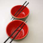 Pair Of Chopstick Bowls In Graphite Gray And Cherry By NstarStudio - A bowl of noodles is my favorite go-to quick and easy weeknight meal. Because I eat them so often, I love to shop for noodles bowls, especially gorgeous ones like these eye-popping red bowls. The chopstick-holding holes are a nice and clever addition!