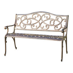 Great Deal Furniture - Hyde Outdoor Aluminium Bench - The Hyde bench is a beautiful addition for your outdoor decor. Made from cast aluminum, the bench features meshed pattern on the seat and intricate details on the chair backrest. The copper finish is neutral to match any outdoor furniture and will hold up in any weather condition. Whether in your backyard, patio, deck or garden, you'll enjoy this piece for years to come.