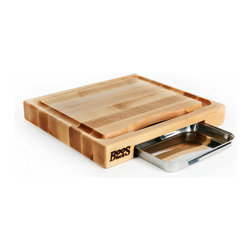 "John Boos - Small-Sized Newton Prep Master - 15"" x 14"" with Groove & Pan - Cleverly-designed maple cutting board with juice groove and catch pan. 15 x 14 inches and 2-1/4 inch thick. Edge-grain maple. By John Boos. PM1514225-P"