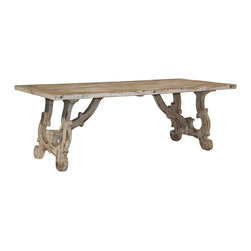 Kosas Collections - Vennie Distressed Pine Antique White Dining Table - The perfect accent to any decor,the Vennie dining table highlights a beautiful distressed pine wood construction. This alluring piece also offers an antique white finish and hand-carved detailing.