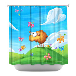 DiaNoche Designs - Shower Curtain Artistic - Wallo the Sheep Blue - DiaNoche Designs works with artists from around the world to bring unique, artistic products to decorate all aspects of your home.  Our designer Shower Curtains will be the talk of every guest to visit your bathroom!  Our Shower Curtains have Sewn reinforced holes for curtain rings, Shower Curtain Rings Not Included.  Dye Sublimation printing adheres the ink to the material for long life and durability. Machine Wash upon arrival for maximum softness. Made in USA.  Shower Curtain Rings Not Included.