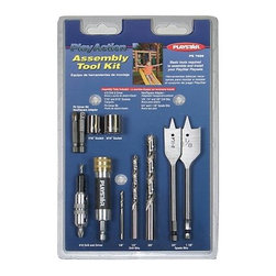 PlayStar Assembly Tool Kit - The PlayStar Assembly Tool Kit includes 7/16-inch and 9/16-inch sockets, P2 driver bit, hex/square socket adaptor, quick change connector, 3/4-inch and 1 1/8-inch spade bits, #10 counter sink, 1/8-inch, 1/4-inch and 3/8-inch drill bits for PlayStar play set construction. This set makes building the play set easier and is useful for a variety of tasks.About PlaystarThe Playstar company started in the garage of an entrepreneur located in the heartland of America. Since then, the owner's dream of creating a company built by good, hardworking people has come alive, making them the leading manufacturer of residential play sets.Playstar offers a range of swing sets to match your family's needs and lifestyle. Should you need any assistance with your system, you can always rely on the friendly, professional, and self-motivated Playstar customer service representatives. Rest assured, any of their innovative products will be of the highest value and best quality.