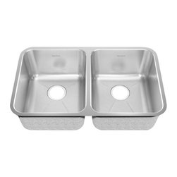 American Standard - Stainless Steel Undermount 30.88 inch x 17.75 inch Double Bowl Kitchen Sink - American Standard 14DB.311800.073 Stainless Steel Undermount 30.88 inch x 17.75 inch Double Bowl Kitchen Sink in Brushed Stainless Steel.