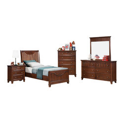 Homelegance - Homelegance Alyssa 5 Piece Kids' Panel Bedroom Set in Warm Cherry - Cottage styling lends itself to the Alyssa Collection. Finished in a simple cottage white or warm brown cherry bead board accents the end panels and top drawers of each case piece while coordinating knobs punctuate each drawer. Offerings include Full Queen and King beds. The Alyssa collection is a quaint addition to your home.