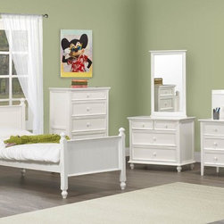 Homelegance - Homelegance Whimsy 7 Piece Kids' Panel Bedroom Set in White - Today your little girl loves purple tomorrow white or maybe green or was it yellow? The Whimsy Collection offers her the option to customize her room to reflect those fantastic whims of youth. Each front drawer panels of the case pieces can be flipped to reveal a different color floral motif. The cottage style collection features cases goods that have been scaled to fit into your child s world. - 2001-PB-7-SET.  Product features: Cottage style; Four Poster Bed; White Finish; Available in Twin and Full sizes. Product includes: Panel Bed (1); Nightstand (1); Chest (1); Dresser (1); Mirror (1); Desk w/ Hutch (1); Desk Chair (1). 7 Piece Kids' Panel Bedroom Set in White belongs to Whimsy Collection by Homelegance.