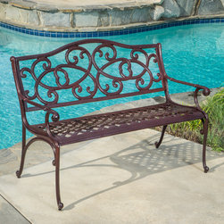 Christopher Knight Home - Christopher Knight Home McKinley Cast Outdoor Bench - The McKinley bench is a beautiful addition for your outdoor decor. Made from cast aluminum,the bench features a pattern throughout and intricate details on the crown of the chair backrest.