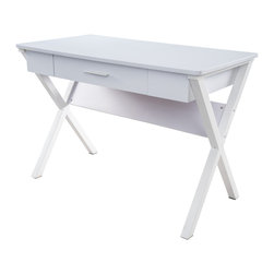 Great Deal Furniture - Kassidy White Crossed Leg Computer Desk - Get motivated with the Kassidy Computer Desk. Reminiscent to the simplicity of a picnic table, this desk is constructed with wood and iron in a white finish, and sports crossed legs for a unique appearance. It is manageable in size and features a working drawer to keep your desk space clutter free. Perfect for any office space in your home, the Kassidy Computer desk is built for those looking to update their office space in style.