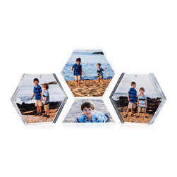 Hexablox - Hexablox Picture Frames - Stack-able Hexagon Block Frames, Starter Set - Starter Set include 3 Hexablox and 1 Half Hexablox (trapezoid) frames