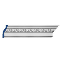 """Inviting Home - Thorton Egg-and-Dart Crown Molding - Thorton Egg-and-Dart crown molding 5""""H x 3""""P x 5-7/8""""F x 7'10""""L repeat - 1-1/4"""" 4 piece minimum order required crown molding specifications: - outstanding quality crown molding made from high density polyurethane: environmentally friendly material is hypoallergenic and fully recyclable no CFC no PVC no formaldehyde; - front surface of this molding has extra durable and smooth surface; - crown molding is pre-primed with water-based white paint; - lightweight durable and easy to install using common woodworking tools; - metal dies were used for consistent quality and perfect part to part match for hassle free installation; - this crown molding has sharp deep and highly defined design; - matching flexible molding available; - crown molding can be finished with any quality paints; Polyurethane is a high density material--it's extremely lightweight and easy to install (and comes primed and ready to paint). It is a green material meaning its CFC and formaldehyde free. It is also moisture resistant--so it won't shrink flex or mold. What's also great about Polyurethane is that it's completely customizable and can be treated as wood (you can saw it nail it screw it and sand it). In addition our polyurethane material comes primed and ready to paint. There is a four piece minimum requirement for this molding purchase."""