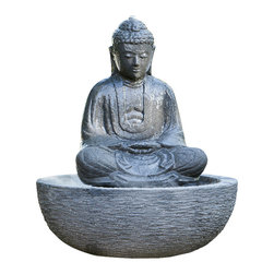 Small Sitting Buddha Fountain-Lava Stone - Distinctive Buddha fountain makes for a tranquil focal point in the landscape, a touch of serenity for the chaotic day-to-day.